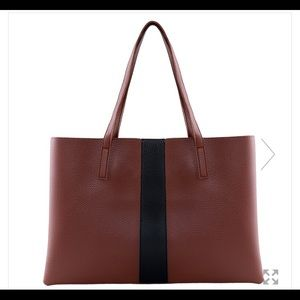 Vince Camuto Pebbled Leather Tote in Red Desert